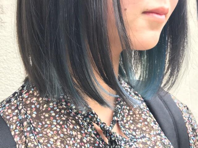 山口市 美容室 美容院 シューケット/ブルー系インナーカラー/カラーリング/ブリーチ/
